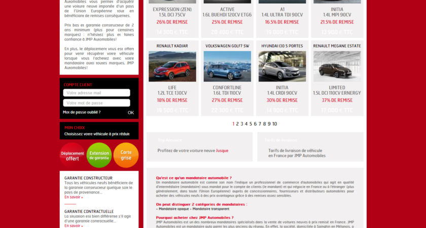 Les prix incroyables des automobiles neuves du mandataire JMP