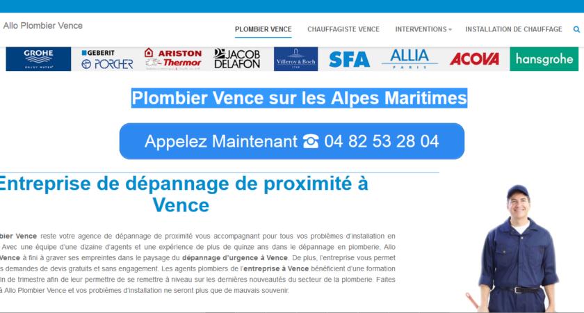 Plombier Vence sur les Alpes Maritimes