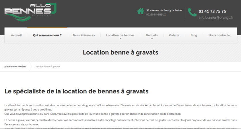 Location de benne à gravats
