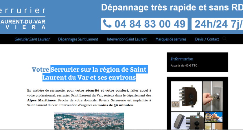 Serrurier sur la région de Saint Laurent du Var