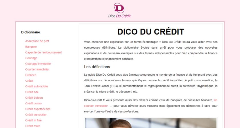 Dico Du Crédit: définitions des thématiques économiques