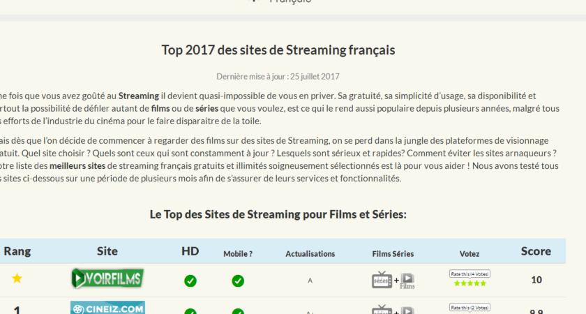 Les meilleurs sites français de streaming