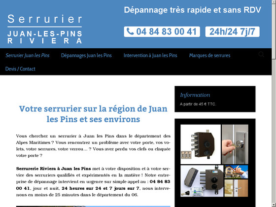 Serrurier pas cher à Juan-Les-Pins Riviera