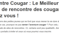 Trouvez votre rencontre avec une cougar