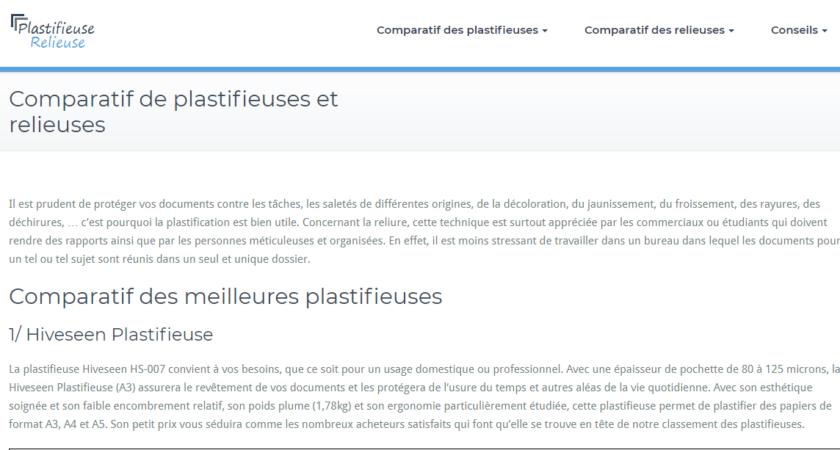 Comparatif des plastifieuses et des relieuses